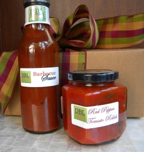 1-12 ounce Barbecue Sauce 1-9 ounce Red Pepper Tomato Relish