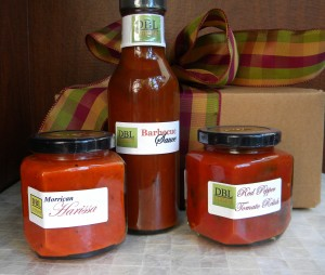 1-12 ounce Barbecue Sauce 1-9 ounce Red Pepper Tomato Relish 1-9 ounce Moriccan Harissa